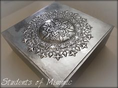 Beautiful Pewter work by Nadine Robertson using Mimmic's large round stencil. Embossing Techniques, Metal Embossing, Metal Engraving, Pewter Metal, Metal Projects, Metal Box, Box Design, Beautiful Things, Stencils
