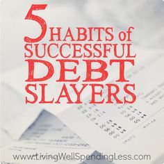Drowning in debt? Taking on that debt dragon can be very scary but these 5 simple habits of successful debt slayers can help you kill it once and for all! debt free debt freedom #debt #debtfree #savemoney