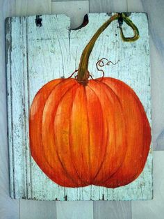 painting on old wood   Pumpkin Acrylic Painting on Old Barn Wood by MrsGobel on Etsy, $22.00