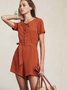"""The Corson Jumpsuit will have you stopping to ask, """"where have you been all my life?"""" Well, it's time you finally got together and made some magic. https://www.thereformation.com/products/corson-jumpsuit-terra-cotta?utm_source=pinterest&utm_medium=organic&utm_campaign=PinterestOwnedPins"""
