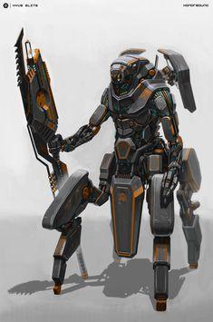 34 ideas futuristic robot concept art inspiration for 2019 Alien Concept, Robot Concept Art, Robot Art, Armor Concept, Futuristic Robot, Futuristic Vehicles, Futuristic Armour, Drones, Mekka