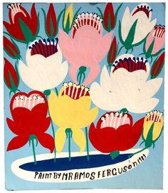 """Amos Ferguson  """"Colorful Flowers,"""" 1983. Enamel on board. 17-1/2 x 15 inches."""