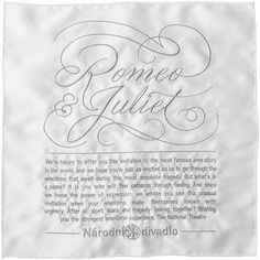 My lettering for an embroidered handkerchief invitation to the ballet premiere of Romeo and Juliet at the National Theatre in…