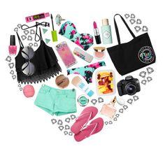 """Beach!!!!"" by bubblegumfashionista ❤ liked on Polyvore featuring moda, Beach Riot, Pull&Bear, Orelia, Havaianas, Benefit, Casetify, Eos, Maybelline y OPI"
