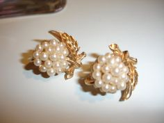 AUTUMN WEDDING Pearl Leaf Grape Cluster by MississippiDeltaTrea, $17.00 VINTAGE, TRIFARI PEARL LEAF EARRINGS FOR AUTUMN WEDDINGS, HOLIDAY PARTIES !!!