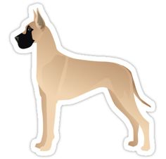 Great Dane Fawn Colored Basic Breed Silhouette by TriPodDogDesign