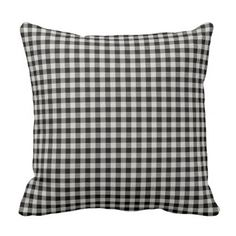 Farmhouse Black Gingham Throw Pillow - rustic gifts ideas customize personalize