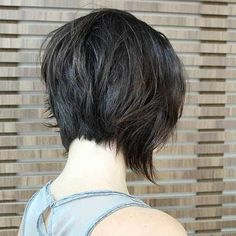 Shaggy Inverted Bob Haircut - Stacked Short Hairstyle Back View