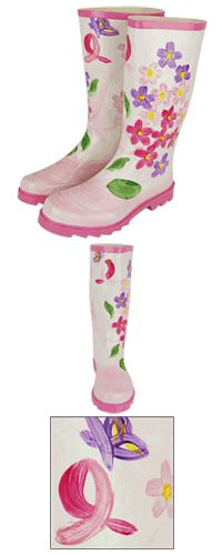 Pink Ribbon & Flowers Hand-Painted Rain Boots at The Breast Cancer Site