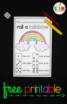 What a fun St. Patrick's Day preschool or kindergarten math game! Roll a rainbow. Great counting and reading game. Rainbow Games, Rainbow Activities, Rainbow Theme, Spring Activities, Preschool Activities, Weather Activities, Preschool Printables, Preschool Lessons, Teaching Activities