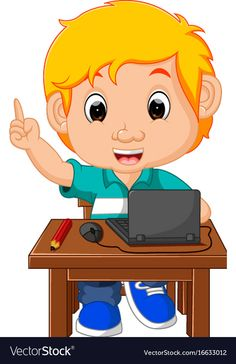 Kid boy using the computer cartoon vector image on VectorStock Cartoon Cartoon, School Cartoon, School Border, Animation Schools, Presentation Backgrounds, Kids Background, School Images, Music Symbols, The Computer