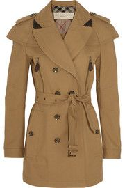 Burberry Brit&nbs p;Short leather-trimmed cotton-twill trench coat