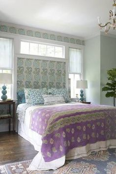Bohemian Decorating Ideas Pale Blue Purple Bedroom