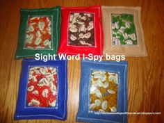 Sight Word I-Spy bags. Lima beans with words on them and put into an I-Spy bag. Each bag is a grade level too. So cool.