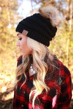 Beanie Beautiful with Faux Fur Pom in Black