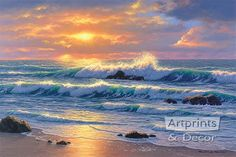 North American beach wall murals for your home or office at any size. Landscape Art, Landscape Paintings, Beach Wall Murals, Ocean Scenes, Ocean Sunset, Nautical Art, Seascape Paintings, Beach Art, Table Mountain