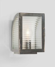 Clipper by Michael Amato for The Urban Electric Co. Shown in Polished Nickel and Ribbed Glass  Wall Sconce Lantern Lighting UECo.