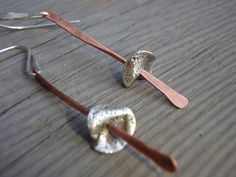 "ARTisan Made ""Crossroad II"" Earrings - PMC - Sterling Silver - Copper - OOAK. $42.00, via Etsy."