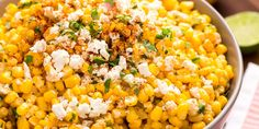 Best Mexican Corn Salad Recipe - How to Make Mexican Corn Salad 6 ears corn, kernels stripped 1/2 c. mayonnaise 1/4 c. cotija cheese or feta, plus more for garnish Juice of 2 limes 2 tbsp. chopped fresh cilantro, plus more for garnish 1 tbsp. chili powder, plus more for garnish kosher salt
