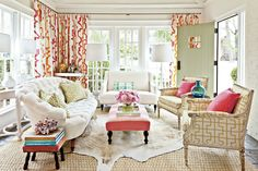 """Southerners aren't afraid to use color, but it's good to stick with a palette so everything works together. It's also smart to add color to things like drapes and throw pillows which are easy to switch out."""