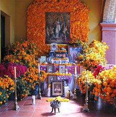 ❁☠❀ Dia de Los Muertos  ❀☠❁ Day of the dead altars known as altares de muertos or ofrendas (offerings) are set during the Day of the Dead celebrations on November 1 and 2 to honor the dead children and adults.