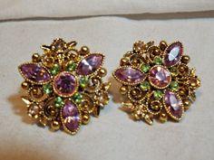 Vintage Pair Avon Clip On Earrings - Pink/Purple & Green Rhinestones #Avon