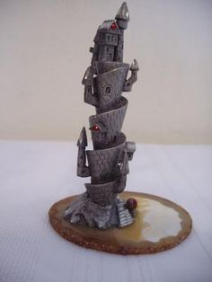 """Pewter Castle on cut rock with red gems $12.50 4.5"""" x 2.5"""" x 3"""""""