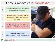 La narcolessia è una patologia neurologica che causa episodi d'ipersonnia diurna, cataplessia, allucinazioni e paralisi del sonno.