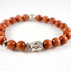 Bracelet perles pierre de soleil, perle ronde fleur de lotus et tête bouddha en métal couleur argenté
