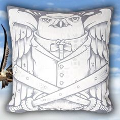 The Falcons Pillow by Jeremy Fish. Take your dreams to new heights as you cozy up with The Falcons Pillow - now available in store and online. @mrjeremyfish #jeremyfish #superfishal #shopUP #UpperPlayground #falconry