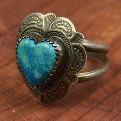 silver & turquoise heart ring