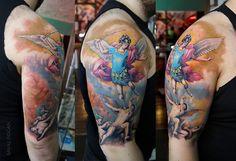 Warrior Angel Michael Tattoo Angel michael tattoo by Christian Sleeve Tattoo, Angel Warrior, Mobile Art, Saint Michel, Sleeve Tattoos, Watercolor Tattoo, Body Art, Deviantart, Istanbul