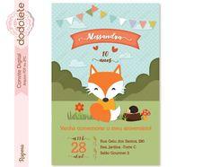 Raposa Birthday, Design, Mini Potatoes, Fox Party, Printed Materials, Portrait Frames, Woods, Bebe, Birthdays
