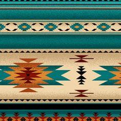 Elizabeth Studios Native Muster Streifen Türkis 1 Hof und 3