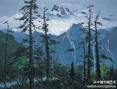 【 吴冠中 作品《玉龙雪山》 】画面上被皑皑白雪覆盖而终年不化的玉龙雪山与青翠挺拔的松树,形成相互呼应的对照,松枝的用笔和墨色均极富变化,笔清色润中加上多处暖色点出了生命的韵律,画面中雪山线条连绵起伏,自然,清新,流畅,我们仿佛呼吸到了海拔4000米之上的空气,心旷神怡。