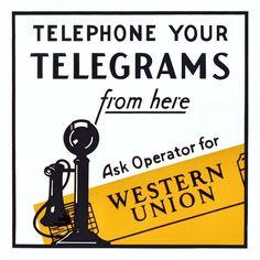 VINTAGE ADVERTISING SIGNS   Vintage advertising metal sign, Western Union