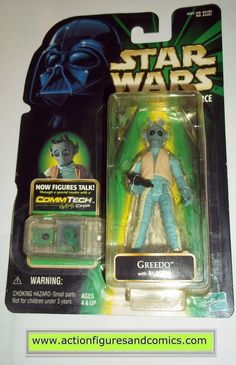 star wars action figures GREEDO COMMTECH power of the force 1998 hasbro toys moc mip mib