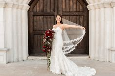 Beaded lace drop veil from Blanca Veils starting at $77