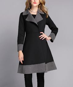 Look at this Black & Gray Two-Tone A-Line Coat - Women on #zulily today!