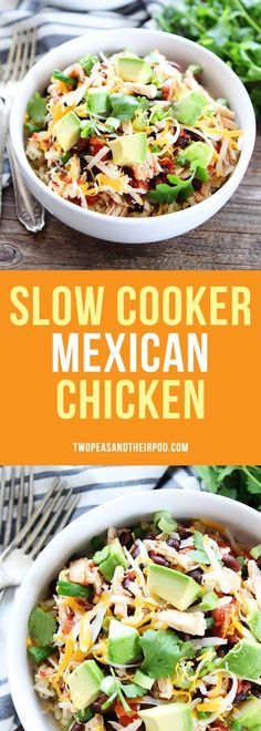 Slow Cooker Mexican Chicken-this easy crockpot Mexican chicken is perfect for making tacos, burritos, or salads. You can also serve it over rice or quinoa for an easy weekinght dinner.