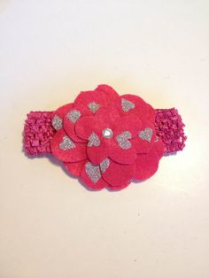 Infant Toddler Girls Hot Pink Hearts Flower Crochet Headband Headpiece Hairbow Hair Accessories on Etsy, $7.00