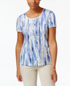 Karen Scott Print T-Shirt, Only at Macy's - Blue XXL