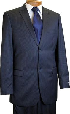 SKU#RU7610 Mens 2 Button Slim Cut Navy Pinstripe Suit Navy $175 Mens Discount Suits By Style and Quality 2 Button Suits