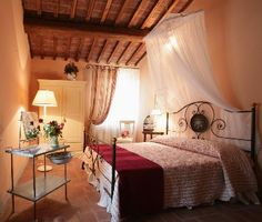 "The Tuscan bedroom is actually sparse just like in real life. So many so called ""Tuscan"" things have been ""Americanized"". Tuscan Dining Rooms, Tuscan Bedroom, Dining Room Table Decor, Tuscan Design, Tuscan Style, Romantic Room, Tuscan House, Mediterranean Home Decor, Vacation Home Rentals"