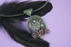 Raven in roses polymer clay