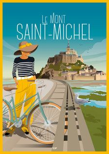 Excellent simple ideas for your inspiration Dibujos Pin Up, Beach Posters, Art Deco Posters, Retro Posters, Poster Design, Mont Saint Michel, Travel Illustration, Poster S, Vintage Travel Posters