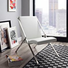 Swing Vinyl Lounge Chair in White