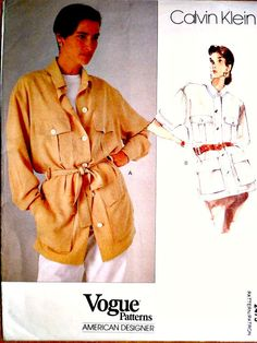 Misses Cargo Jacket Safari Jacket Sewing Pattern Calvin Klein Vintage Vogue 2473 American Designer Size 12 14 16 Vogue Patterns, Sewing Patterns, Safari Jacket, Cargo Jacket, Princess Caroline, Couture Sewing, Vintage Vogue, Summer 2015, 1990s