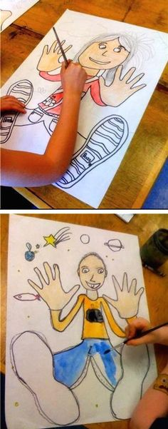 The idea is to trace kids hands and feet onto a large piece of paper (they might need help with this part), and then draw their head, b...