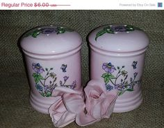 Check out ON SALE Vintage Pink Floral Large Sized Salt and Pepper Shakers with Lavender Florwers and Butterflies. on junkyardblonde